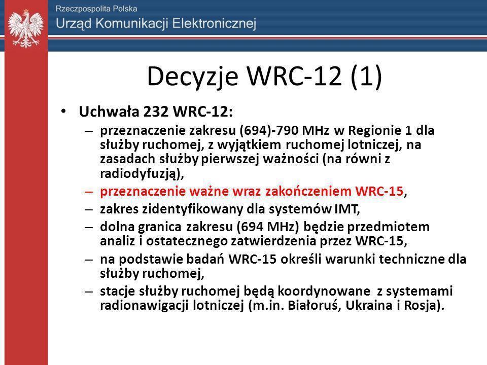 Decyzje WRC-12 (2) Uchwała 232 WRC-12 (c.d.): – ITU-R przeanalizuje różne możliwości aranżacji kanałów uwzględniając: kompatybilność z systemami w zakresie 790-862 MHz, możliwość harmonizacji we wszystkich Regionach, kompatybilność z innymi służbami pierwszej ważności, – ITU-R przeanalizuje możliwości wykorzystania zakresu przez systemy pomocnicze względem radiodyfuzji.