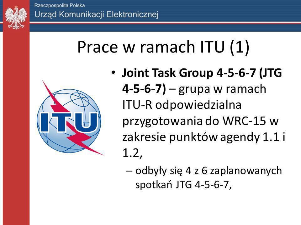 Prace w ramach ITU (2) Dotychczasowe rezultaty prac JTG 4-5-6-7 – rekomendowanie pozostawienia wartości 694 MHz jako dolnej granicy nowego przeznaczenia dla służby ruchomej, – ochrona dla telewizji w kanale 48 wynikająca z porozumienia Genewa `06, – prace nad raportem ITU-R dotyczącym kompatybilności IMT i radiodyfuzji – w toku – prace nad raportem ITU-R dotyczącym systemów SAB/SAP – w toku