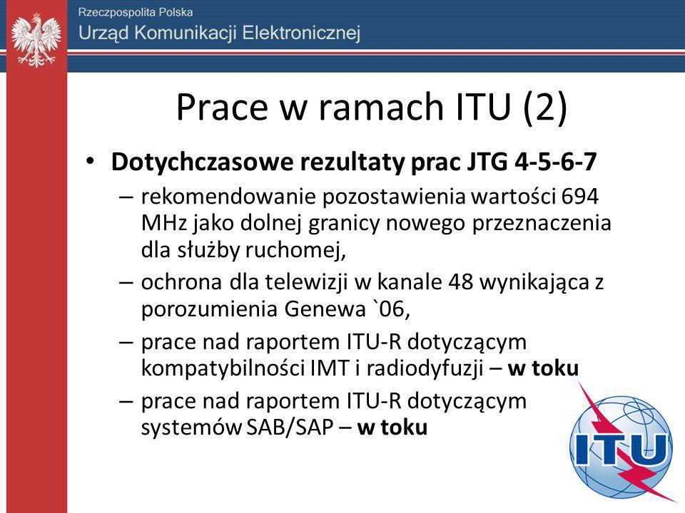 Prace w ramach Unii Europejskiej (1) Możliwe scenariusze wykorzystania pasma 700 MHz: Scenariusz 1 - pozostawienie radiodyfuzji jako podstawowego zastosowania, Scenariusz 2 – pasmo wykorzystywane wyłącznie na potrzeby sieci szerokopasmowej transmisji danych, Scenariusz 3 – współdzielenie pasma, Scenariusz 4 – konwergencja sieci, np.