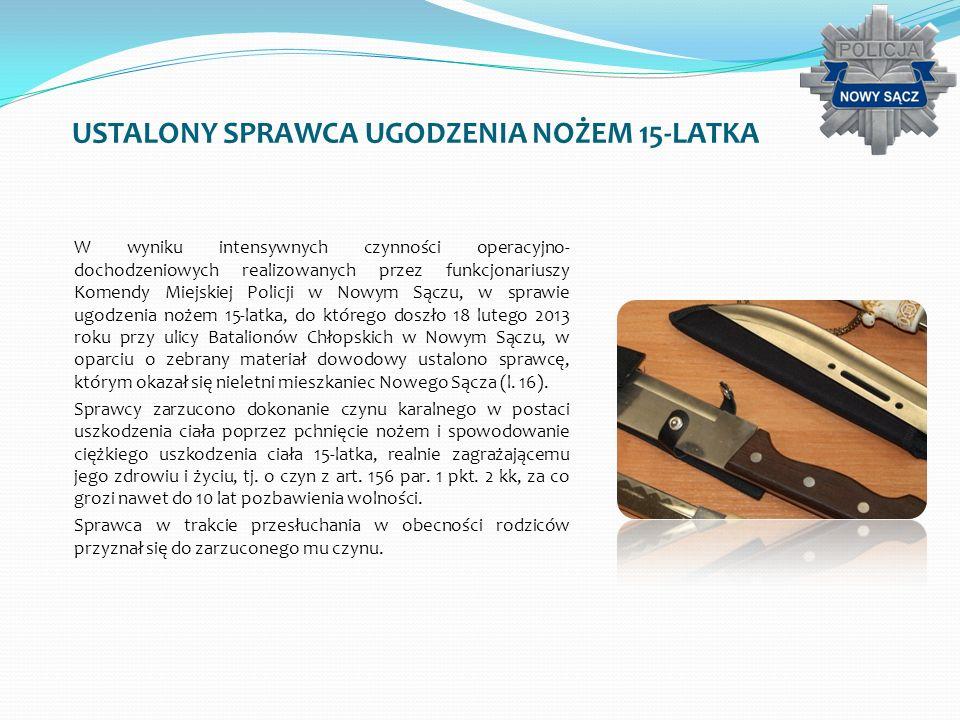 USTALONY SPRAWCA UGODZENIA NOŻEM 15-LATKA W wyniku intensywnych czynności operacyjno- dochodzeniowych realizowanych przez funkcjonariuszy Komendy Miej
