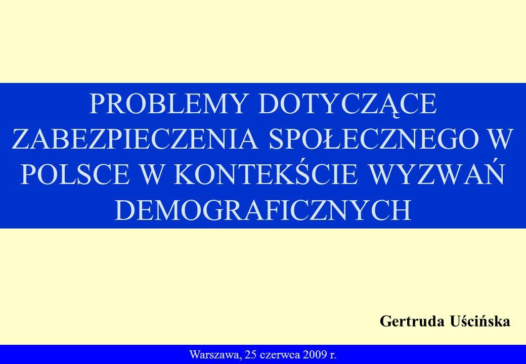 PROBLEMY DOTYCZĄCE ZABEZPIECZENIA SPOŁECZNEGO W POLSCE W KONTEKŚCIE WYZWAŃ DEMOGRAFICZNYCH Warszawa, 25 czerwca 2009 r.