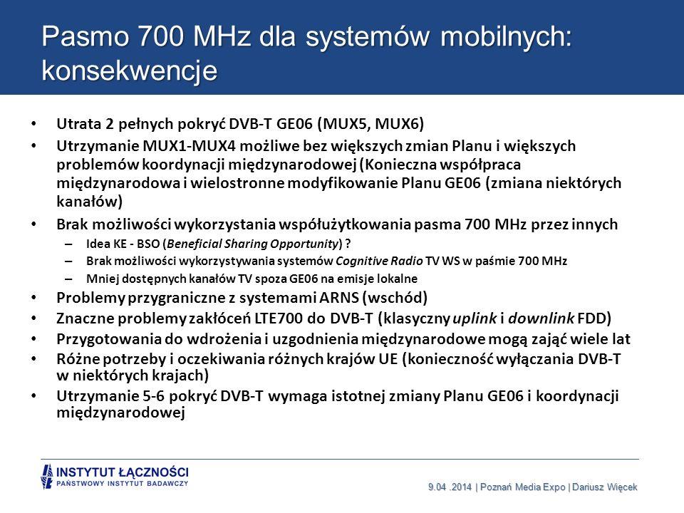 9.04.2014 | Poznań Media Expo | Dariusz Więcek Pasmo 700 MHz dla systemów mobilnych: konsekwencje Utrata 2 pełnych pokryć DVB-T GE06 (MUX5, MUX6) Utrz