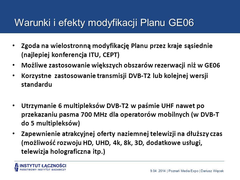 9.04.2014 | Poznań Media Expo | Dariusz Więcek Warunki i efekty modyfikacji Planu GE06 Zgoda na wielostronną modyfikację Planu przez kraje sąsiednie (