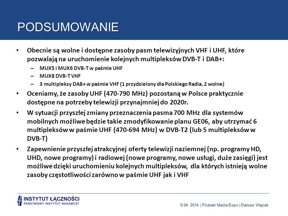 9.04.2014 | Poznań Media Expo | Dariusz Więcek PODSUMOWANIE Obecnie są wolne i dostępne zasoby pasm telewizyjnych VHF i UHF, które pozwalają na urucho