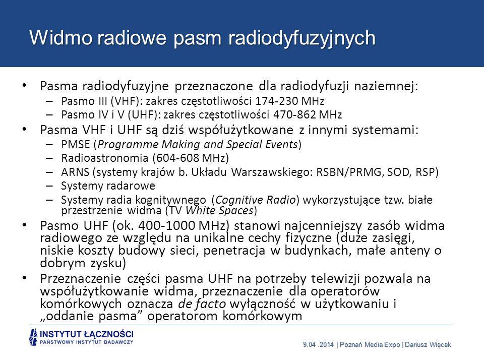 9.04.2014 | Poznań Media Expo | Dariusz Więcek Widmo radiowe pasm radiodyfuzyjnych Pasma radiodyfuzyjne przeznaczone dla radiodyfuzji naziemnej: – Pas