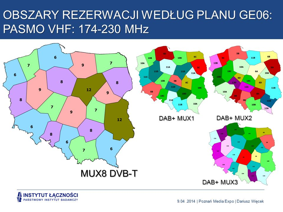 9.04.2014   Poznań Media Expo   Dariusz Więcek Warunki i efekty modyfikacji Planu GE06 Zgoda na wielostronną modyfikację Planu przez kraje sąsiednie (najlepiej konferencja ITU, CEPT) Możliwe zastosowanie większych obszarów rezerwacji niż w GE06 Korzystne zastosowanie transmisji DVB-T2 lub kolejnej wersji standardu Utrzymanie 6 multipleksów DVB-T2 w paśmie UHF nawet po przekazaniu pasma 700 MHz dla operatorów mobilnych (w DVB-T do 5 multipleksów) Zapewnienie atrakcyjnej oferty naziemnej telewizji na dłuższy czas (możliwość rozwoju HD, UHD, 4k, 8k, 3D, dodatkowe usługi, telewizja holograficzna itp.)