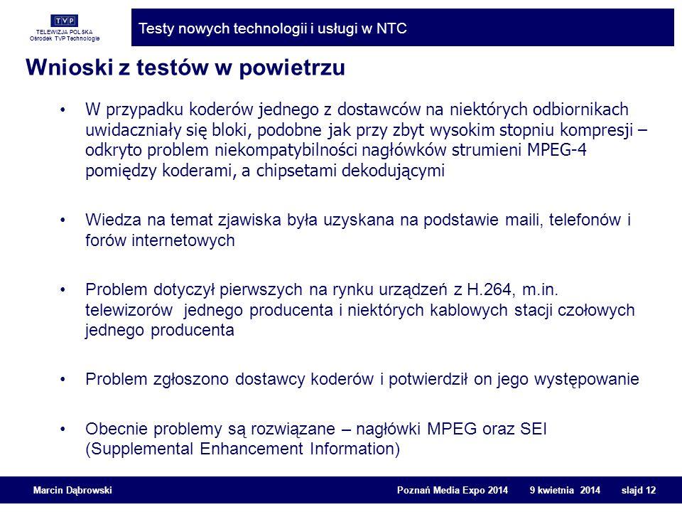 TELEWIZJA POLSKA Ośrodek TVP Technologie Testy nowych technologii i usługi w NTC Marcin Dąbrowski Poznań Media Expo 2014 9 kwietnia 2014 slajd 12 W pr