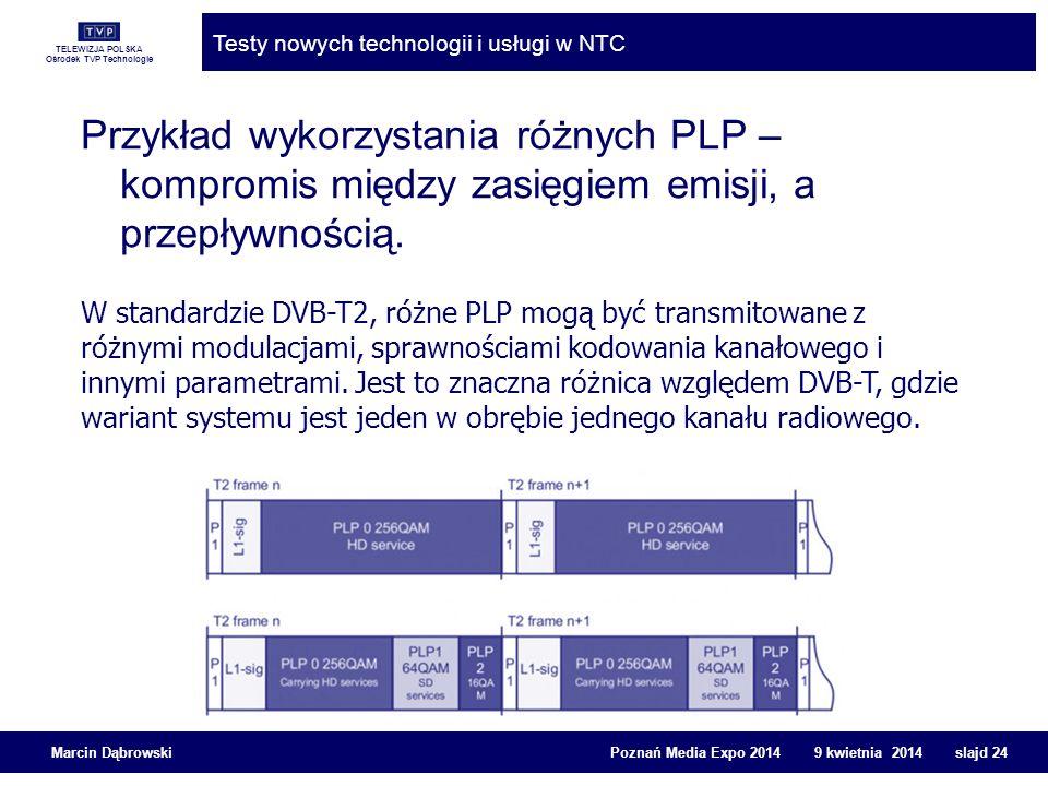 TELEWIZJA POLSKA Ośrodek TVP Technologie Testy nowych technologii i usługi w NTC Marcin Dąbrowski Poznań Media Expo 2014 9 kwietnia 2014 slajd 24 Przy