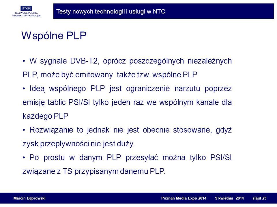 TELEWIZJA POLSKA Ośrodek TVP Technologie Testy nowych technologii i usługi w NTC Marcin Dąbrowski Poznań Media Expo 2014 9 kwietnia 2014 slajd 25 Wspó