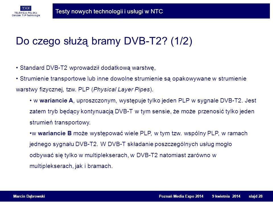 TELEWIZJA POLSKA Ośrodek TVP Technologie Testy nowych technologii i usługi w NTC Marcin Dąbrowski Poznań Media Expo 2014 9 kwietnia 2014 slajd 28 Do c