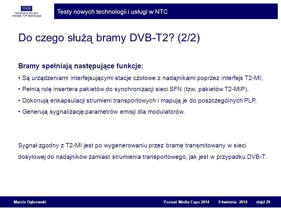 TELEWIZJA POLSKA Ośrodek TVP Technologie Testy nowych technologii i usługi w NTC Marcin Dąbrowski Poznań Media Expo 2014 9 kwietnia 2014 slajd 29 Do c