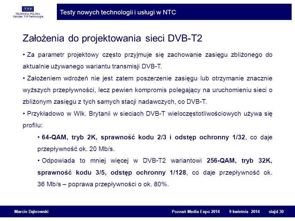 TELEWIZJA POLSKA Ośrodek TVP Technologie Testy nowych technologii i usługi w NTC Marcin Dąbrowski Poznań Media Expo 2014 9 kwietnia 2014 slajd 30 Zało