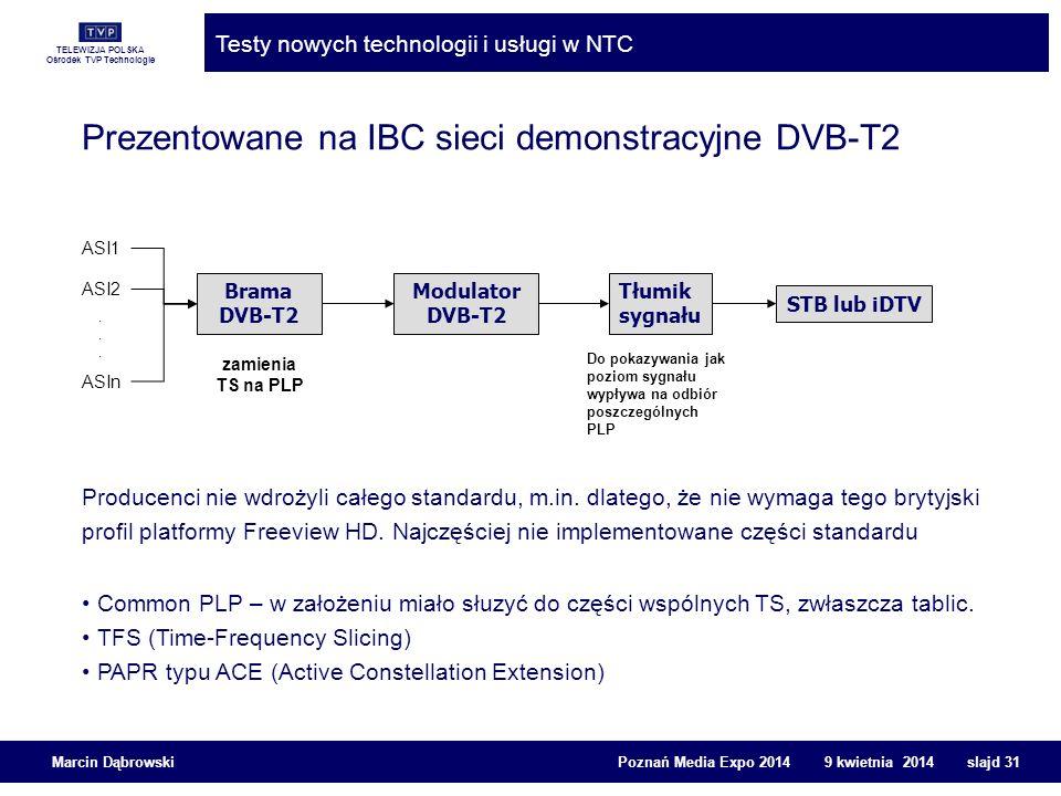 TELEWIZJA POLSKA Ośrodek TVP Technologie Testy nowych technologii i usługi w NTC Marcin Dąbrowski Poznań Media Expo 2014 9 kwietnia 2014 slajd 31 Prez