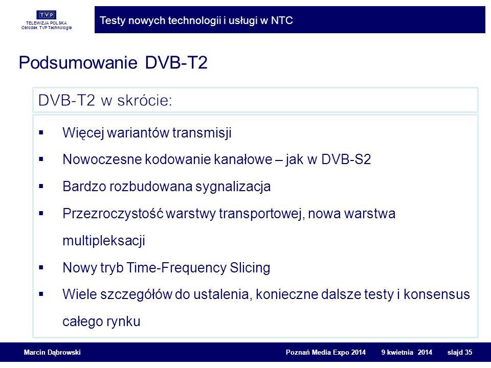 TELEWIZJA POLSKA Ośrodek TVP Technologie Testy nowych technologii i usługi w NTC Marcin Dąbrowski Poznań Media Expo 2014 9 kwietnia 2014 slajd 35 Pods