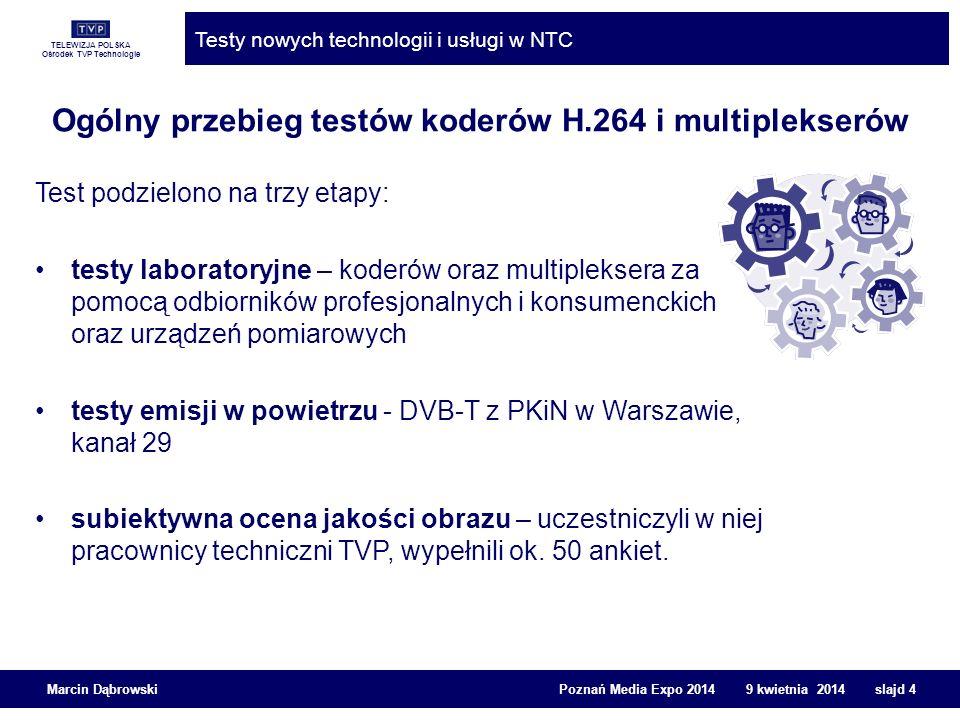 TELEWIZJA POLSKA Ośrodek TVP Technologie Testy nowych technologii i usługi w NTC Marcin Dąbrowski Poznań Media Expo 2014 9 kwietnia 2014 slajd 5 Przebieg technologiczny testów Skonfigurowano multipleksy testowe z nowymi koderami H.264 Podano strumień transportowy ASI testowego multipleksu do EmiTela do nadajnika DVB-T w PKiN Zestawiono rejestratory dyskowe do akwizycji strumieni ASI testowanych multipleksów Skonfigurowano analizatory strumieni transportowych do badania przepływności wizji, zestawiono WFMy, dekodery H.264, magnetowid HDCAM SR, urządzenia do badania lip-sync i wiele innych do analizy obrazu Do testów użyto audycje telewizyjne HD o treści zawierającej ruch i dużo szczegółów obrazu (trudne do kompresji, wymagające większej przepływności bitowej), takiej jak mecz piłkarski