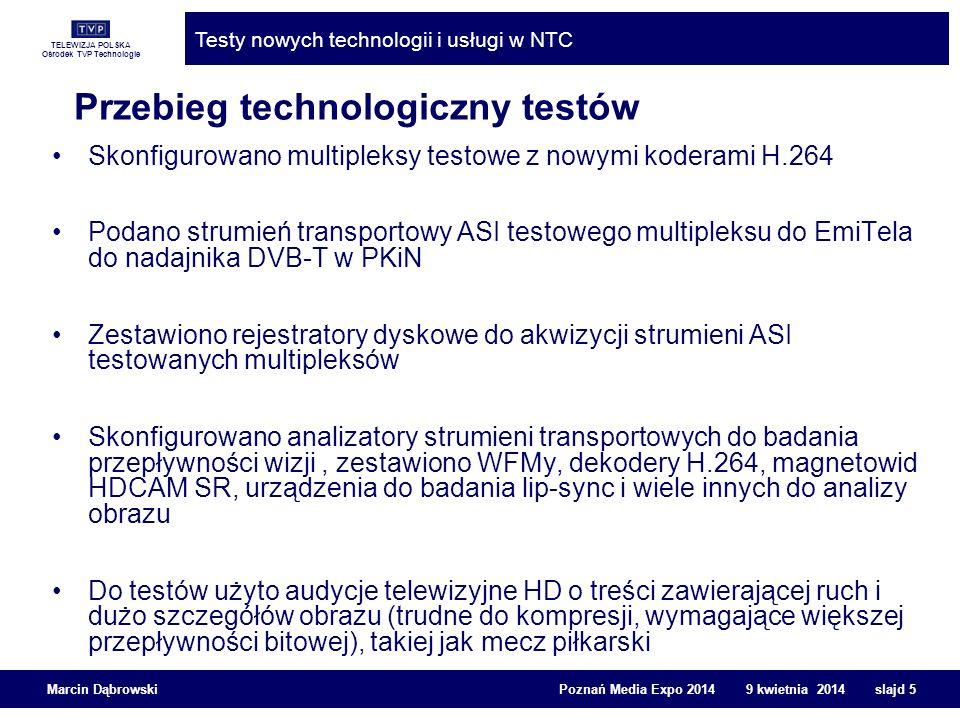TELEWIZJA POLSKA Ośrodek TVP Technologie Testy nowych technologii i usługi w NTC Marcin Dąbrowski Poznań Media Expo 2014 9 kwietnia 2014 slajd 6 Przebieg testów laboratoryjnych ze stacji czołowej brano po jednym koderze i sprawdzano za pomocą materiału testowego EBU (Diva z szumem, sport, teatr, itd.) odtwarzanego z HDCAM SR zakodowany strumień IP odtwarzano za pomocą dekodera profesjonalnego H.264 strumień ASI z testowanego multipleksera wprowadzano także w standardzie DVB-C i DVB-T do wewnętrznej sieci kablowej - służyło to do testowania urządzeń konsumenckich