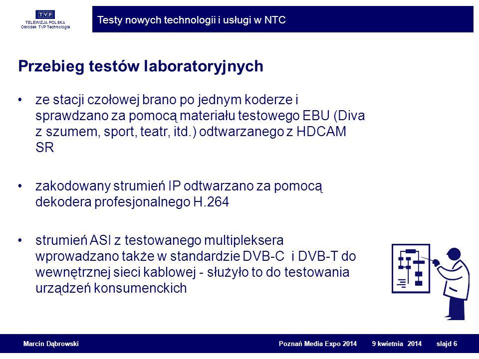 TELEWIZJA POLSKA Ośrodek TVP Technologie Testy nowych technologii i usługi w NTC Marcin Dąbrowski Poznań Media Expo 2014 9 kwietnia 2014 slajd 7 Testy w powietrzu Testowane multipleksy DVB-T z nowymi koderami H.264 były kolejno emitowane przez EmiTel z nadajnika z PKiN w Warszawie na kanale 29 Nazwy testowych serwisów zaczynały się od TEST i instalowały się na końcu listy programów Sygnał był odbierany na terenie aglomeracji warszawskiej