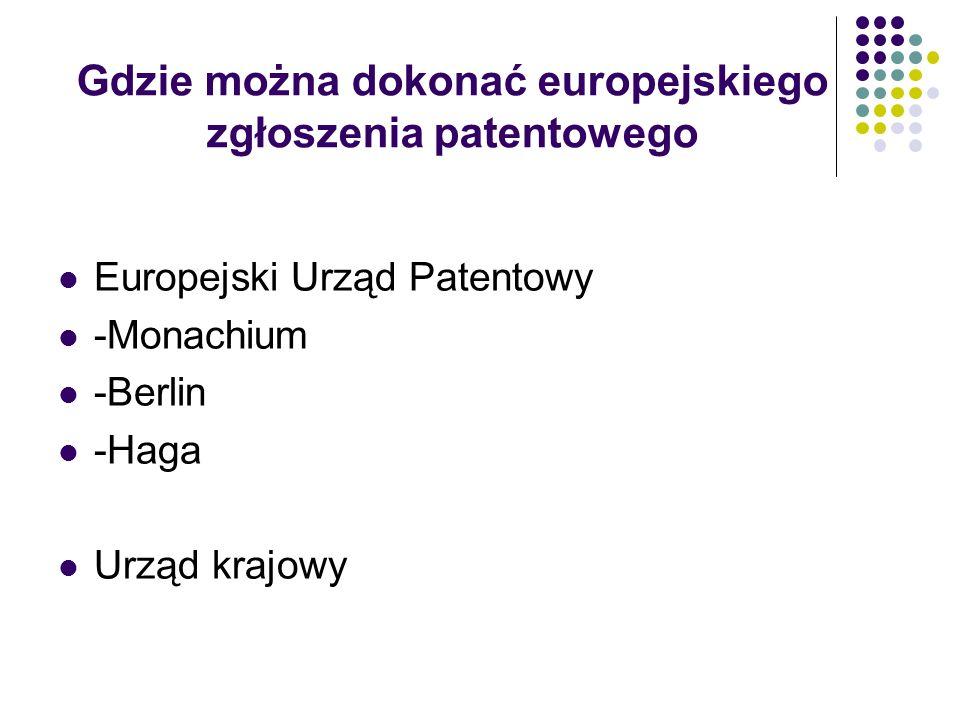 Gdzie można dokonać europejskiego zgłoszenia patentowego Europejski Urząd Patentowy -Monachium -Berlin -Haga Urząd krajowy