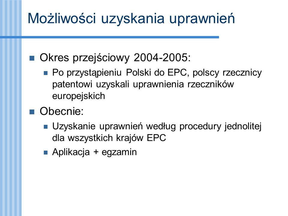 Możliwości uzyskania uprawnień Okres przejściowy 2004-2005: Po przystąpieniu Polski do EPC, polscy rzecznicy patentowi uzyskali uprawnienia rzeczników