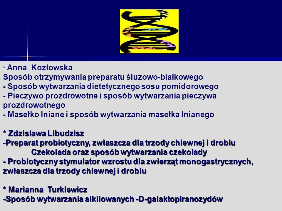 kozlowska * Anna Kozłowska Sposób otrzymywania preparatu śluzowo-białkowego - Sposób wytwarzania dietetycznego sosu pomidorowego - Pieczywo prozdrowot