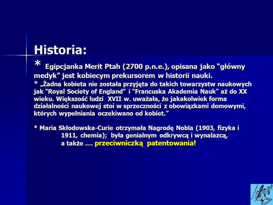 Historia: * Egipcjanka Merit Ptah (2700 p.n.e.), opisana jako
