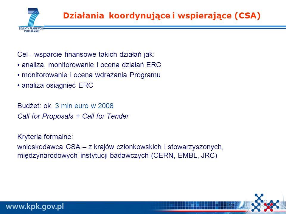 12 Działania koordynujące i wspierające (CSA) Cel - wsparcie finansowe takich działań jak: analiza, monitorowanie i ocena działań ERC monitorowanie i ocena wdrażania Programu analiza osiągnięć ERC Budżet: ok.