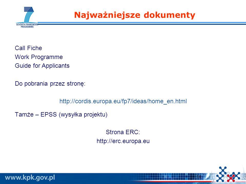 14 Najważniejsze dokumenty Call Fiche Work Programme Guide for Applicants Do pobrania przez stronę: http://cordis.europa.eu/fp7/ideas/home_en.html Tamże – EPSS (wysyłka projektu) Strona ERC: http://erc.europa.eu