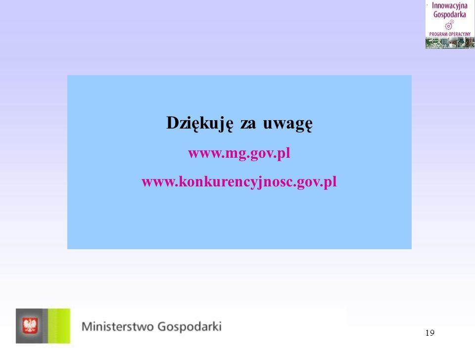 19 Dziękuję za uwagę www.mg.gov.pl www.konkurencyjnosc.gov.pl