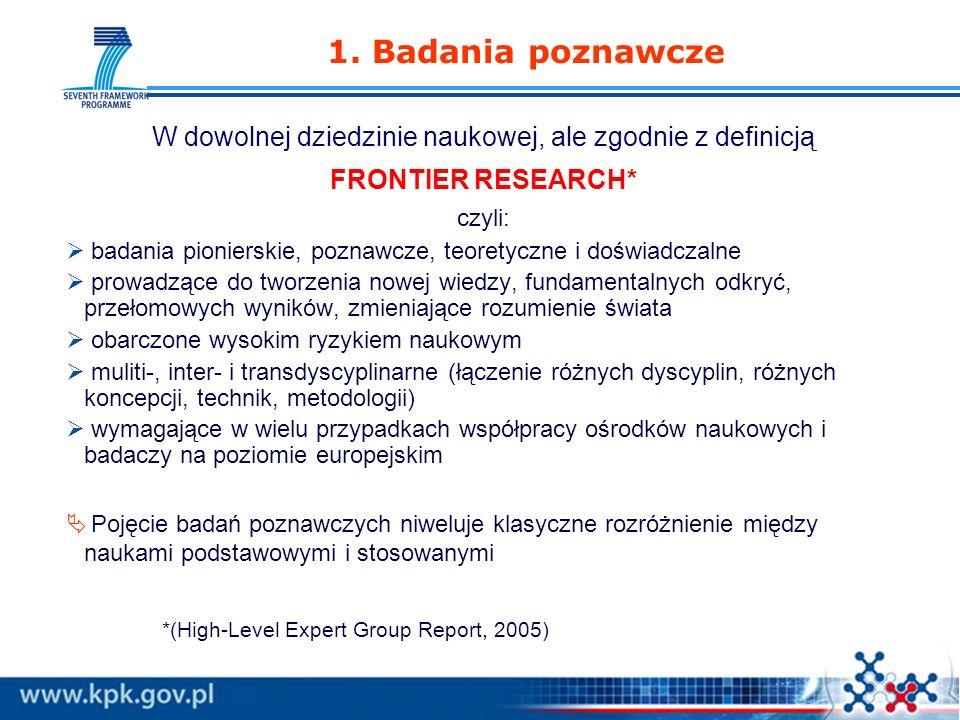 www.kpk.gov.pl 1. Badania poznawcze W dowolnej dziedzinie naukowej, ale zgodnie z definicją FRONTIER RESEARCH* czyli: badania pionierskie, poznawcze,