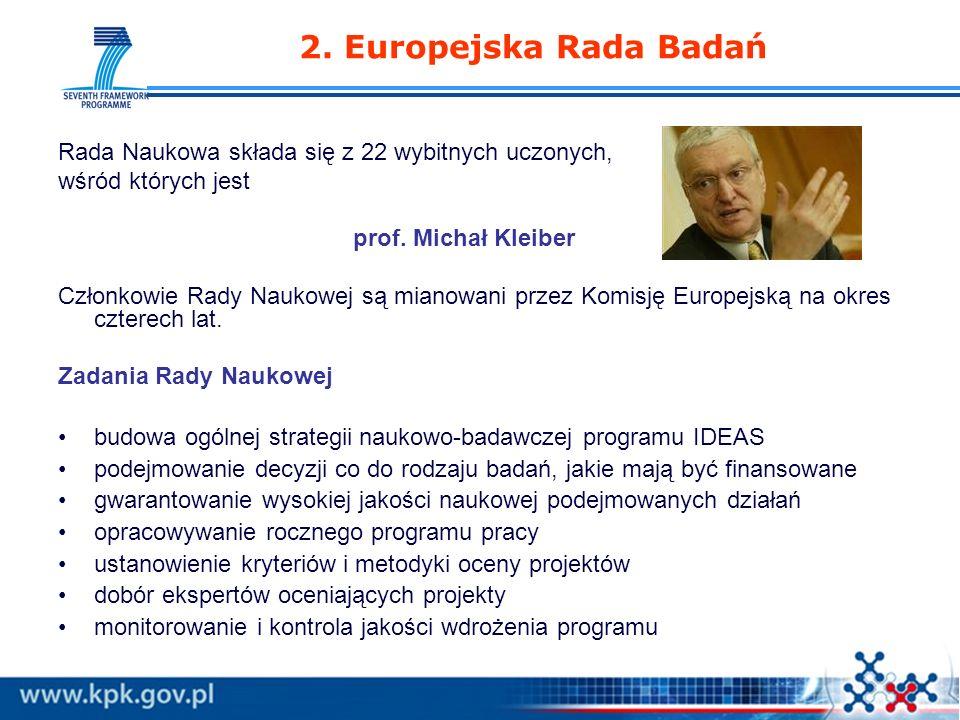 www.kpk.gov.pl 2. Europejska Rada Badań Rada Naukowa składa się z 22 wybitnych uczonych, wśród których jest prof. Michał Kleiber Członkowie Rady Nauko