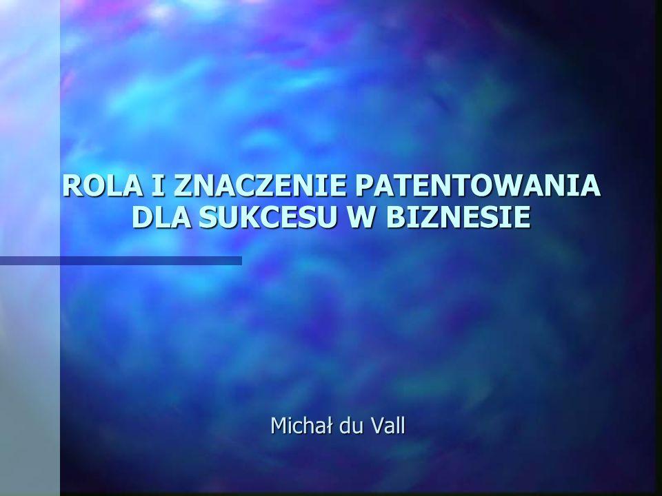 ROLA I ZNACZENIE PATENTOWANIA DLA SUKCESU W BIZNESIE Michał du Vall