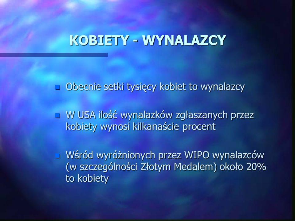 KOBIETY - WYNALAZCY n 1637 r.- patent w Anglii n 1809 r.