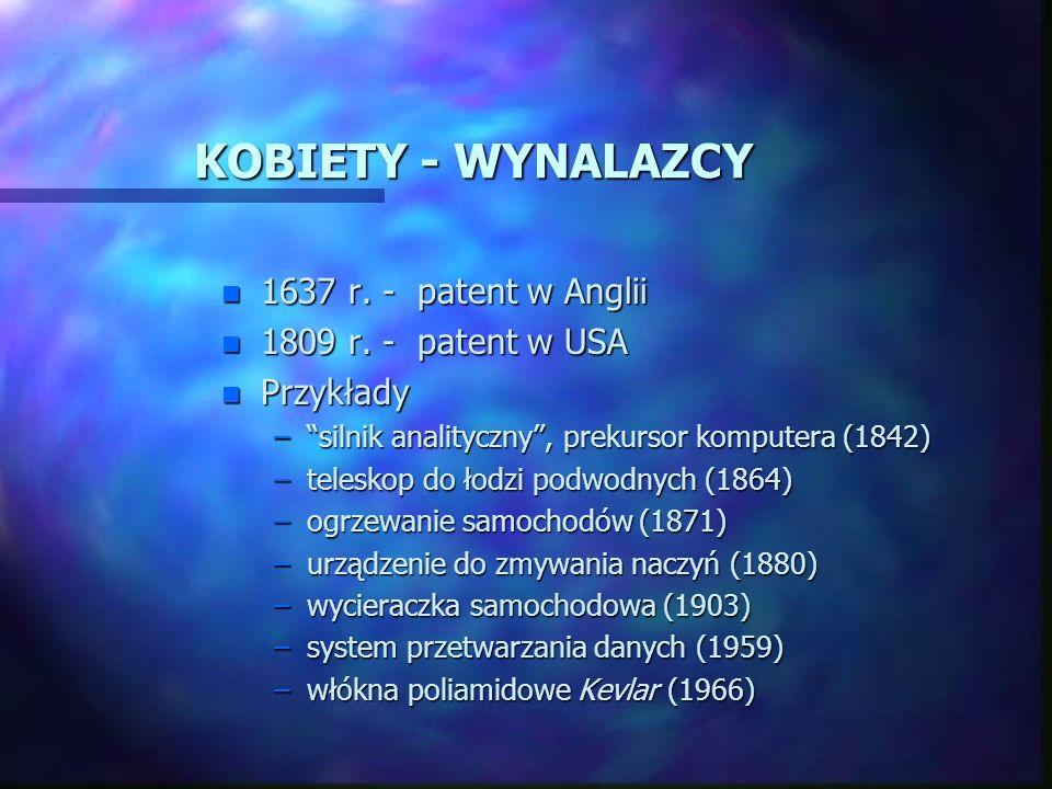 KOBIETY - WYNALAZCY n 1637 r. - patent w Anglii n 1809 r. - patent w USA n Przykłady –silnik analityczny, prekursor komputera (1842) –teleskop do łodz