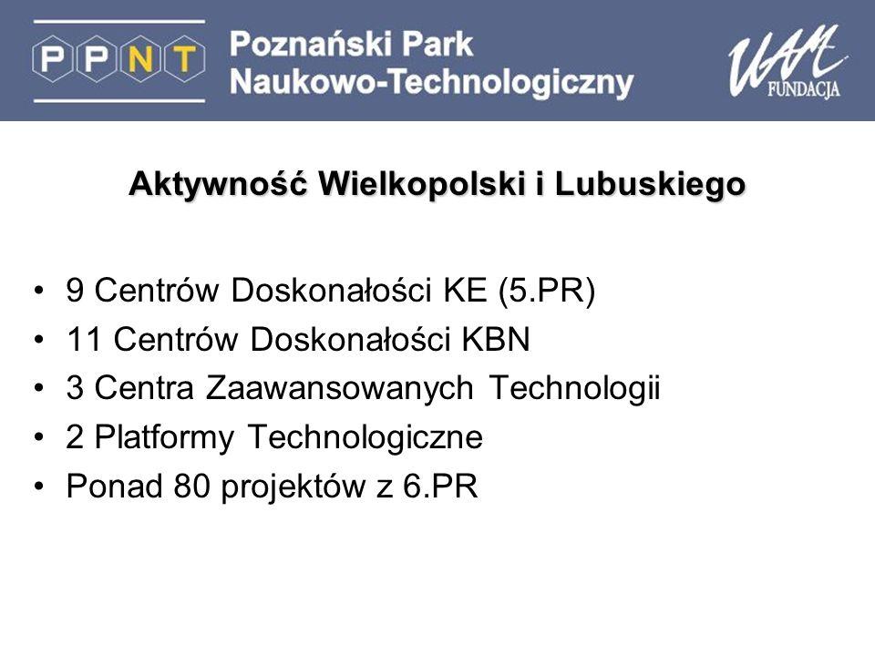 Aktywność Wielkopolski i Lubuskiego 9 Centrów Doskonałości KE (5.PR) 11 Centrów Doskonałości KBN 3 Centra Zaawansowanych Technologii 2 Platformy Technologiczne Ponad 80 projektów z 6.PR