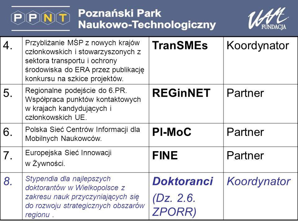4. Przybliżanie MŚP z nowych krajów członkowskich i stowarzyszonych z sektora transportu i ochrony środowiska do ERA przez publikację konkursu na szki
