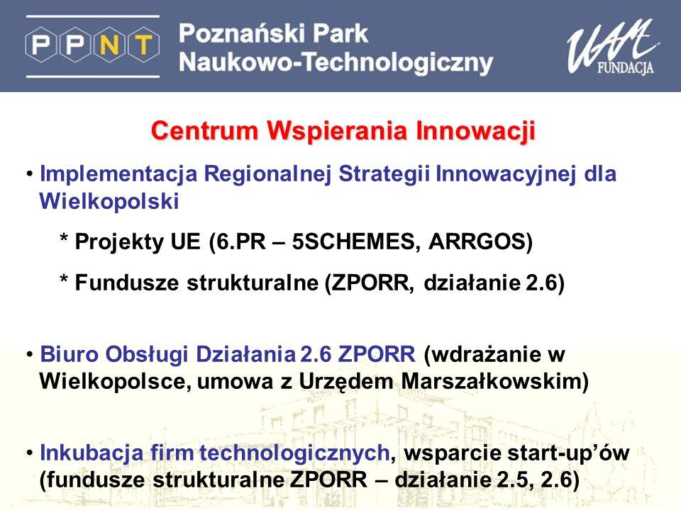 Centrum Wspierania Innowacji Implementacja Regionalnej Strategii Innowacyjnej dla Wielkopolski * Projekty UE (6.PR – 5SCHEMES, ARRGOS) * Fundusze strukturalne (ZPORR, działanie 2.6) Biuro Obsługi Działania 2.6 ZPORR (wdrażanie w Wielkopolsce, umowa z Urzędem Marszałkowskim) Inkubacja firm technologicznych, wsparcie start-upów (fundusze strukturalne ZPORR – działanie 2.5, 2.6)