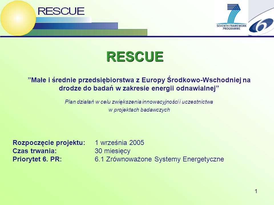 1 Rozpoczęcie projektu: 1 września 2005 Czas trwania: 30 miesięcy Priorytet 6. PR: 6.1 Zrównoważone Systemy Energetyczne RESCUE Małe i średnie przedsi