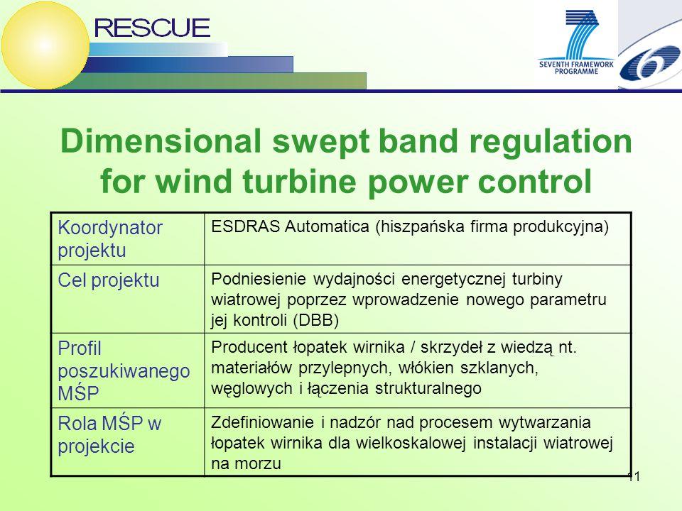 11 Dimensional swept band regulation for wind turbine power control Koordynator projektu ESDRAS Automatica (hiszpańska firma produkcyjna) Cel projektu Podniesienie wydajności energetycznej turbiny wiatrowej poprzez wprowadzenie nowego parametru jej kontroli (DBB) Profil poszukiwanego MŚP Producent łopatek wirnika / skrzydeł z wiedzą nt.