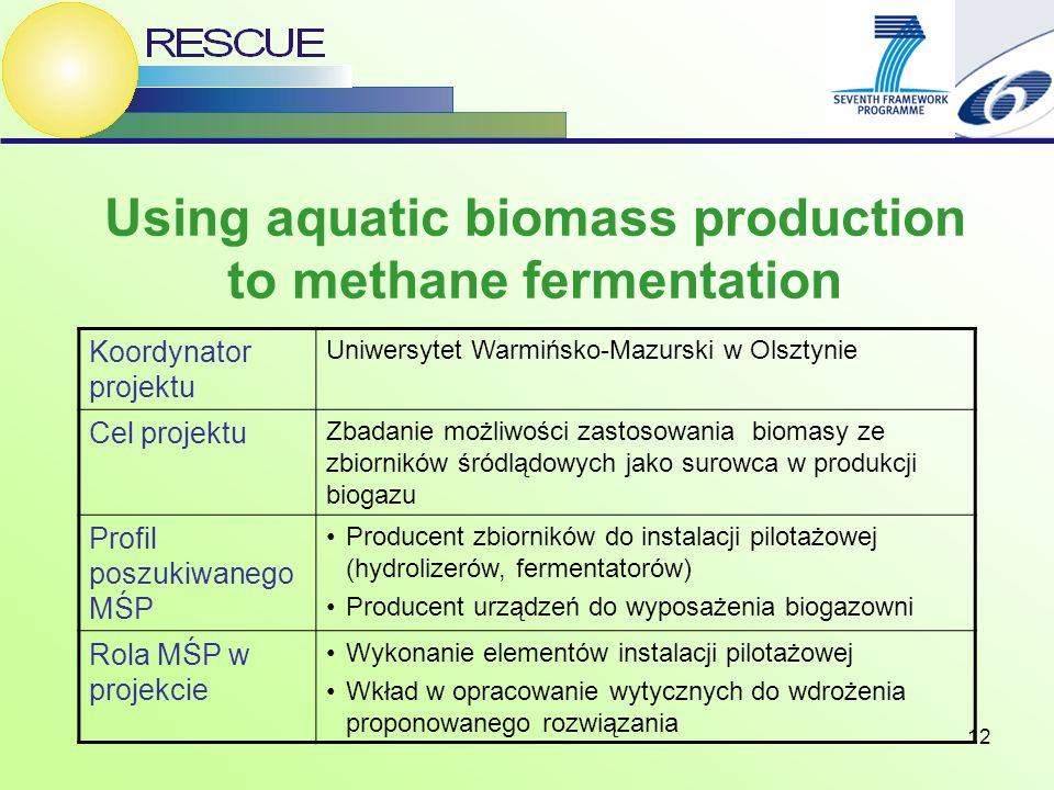 12 Using aquatic biomass production to methane fermentation Koordynator projektu Uniwersytet Warmińsko-Mazurski w Olsztynie Cel projektu Zbadanie możliwości zastosowania biomasy ze zbiorników śródlądowych jako surowca w produkcji biogazu Profil poszukiwanego MŚP Producent zbiorników do instalacji pilotażowej (hydrolizerów, fermentatorów) Producent urządzeń do wyposażenia biogazowni Rola MŚP w projekcie Wykonanie elementów instalacji pilotażowej Wkład w opracowanie wytycznych do wdrożenia proponowanego rozwiązania