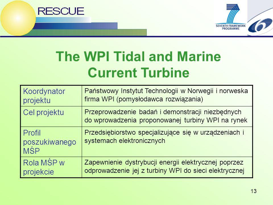13 The WPI Tidal and Marine Current Turbine Koordynator projektu Państwowy Instytut Technologii w Norwegii i norweska firma WPI (pomysłodawca rozwiązania) Cel projektu Przeprowadzenie badań i demonstracji niezbędnych do wprowadzenia proponowanej turbiny WPI na rynek Profil poszukiwanego MŚP Przedsiębiorstwo specjalizujące się w urządzeniach i systemach elektronicznych Rola MŚP w projekcie Zapewnienie dystrybucji energii elektrycznej poprzez odprowadzenie jej z turbiny WPI do sieci elektrycznej