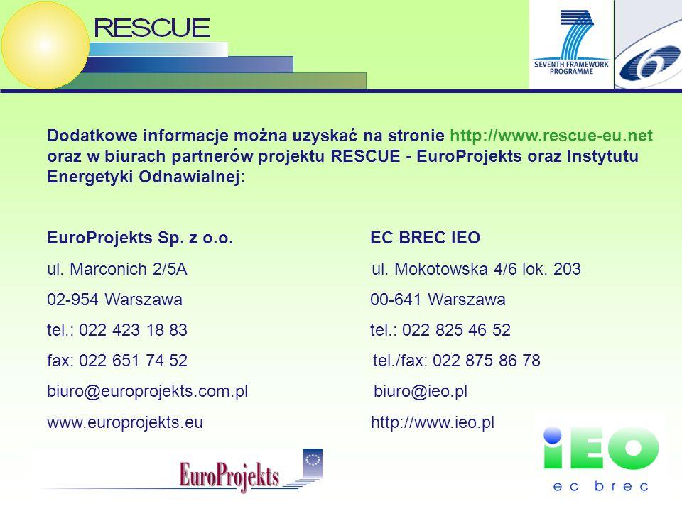 15 Dodatkowe informacje można uzyskać na stronie http://www.rescue-eu.net oraz w biurach partnerów projektu RESCUE - EuroProjekts oraz Instytutu Energetyki Odnawialnej: EuroProjekts Sp.