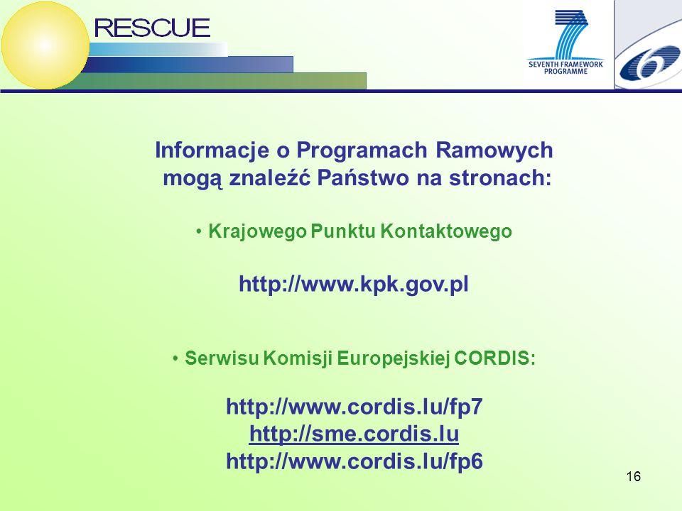 16 Krajowego Punktu Kontaktowego http://www.kpk.gov.pl Serwisu Komisji Europejskiej CORDIS: http://www.cordis.lu/fp7 http://sme.cordis.lu http://www.cordis.lu/fp6 Informacje o Programach Ramowych mogą znaleźć Państwo na stronach: