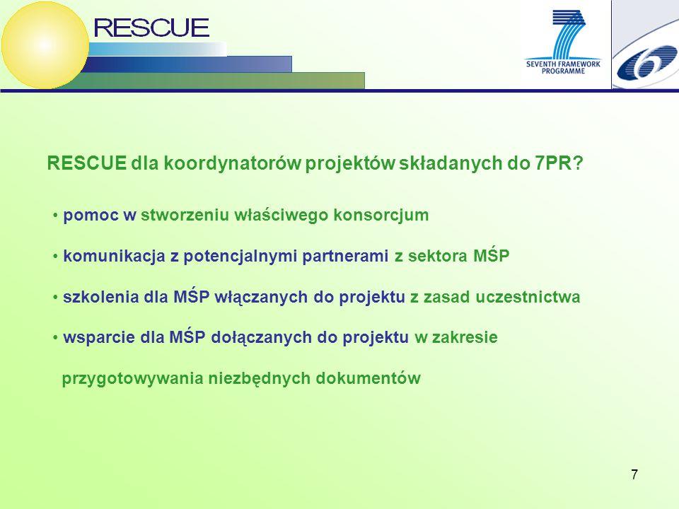 7 RESCUE dla koordynatorów projektów składanych do 7PR? pomoc w stworzeniu właściwego konsorcjum komunikacja z potencjalnymi partnerami z sektora MŚP