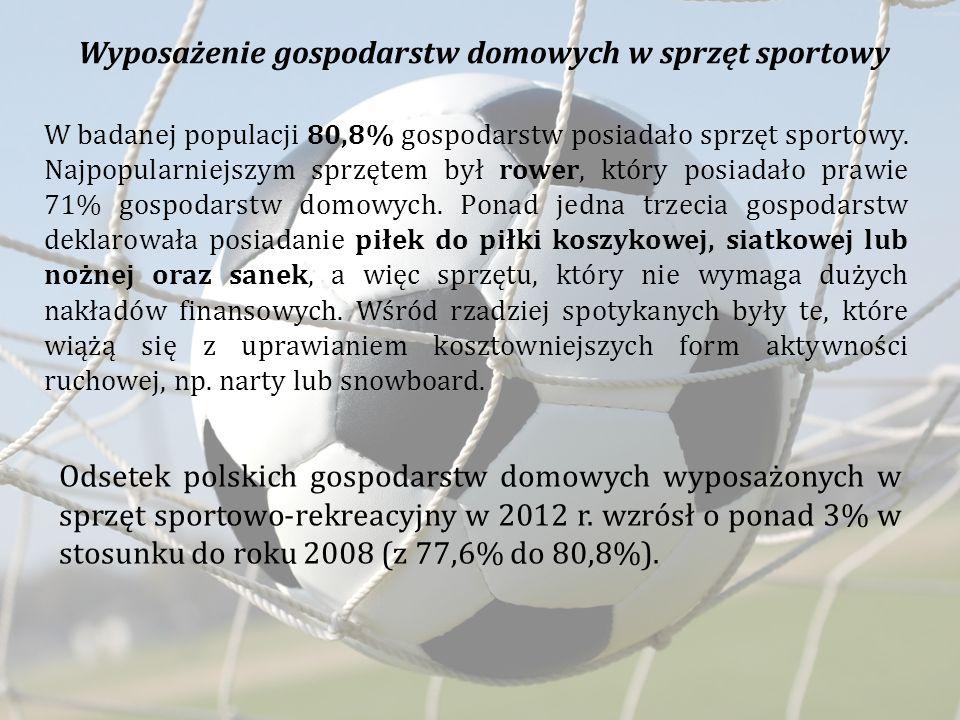 Wyposażenie gospodarstw domowych w sprzęt sportowy W badanej populacji 80,8% gospodarstw posiadało sprzęt sportowy. Najpopularniejszym sprzętem był ro