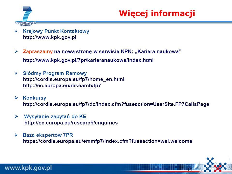 15 Krajowy Punkt Kontaktowy http://www.kpk.gov.pl Zapraszamy na nową stronę w serwisie KPK: Kariera naukowa http://www.kpk.gov.pl/7pr/karieranaukowa/index.html Siódmy Program Ramowy http://cordis.europa.eu/fp7/home_en.html http://ec.europa.eu/research/fp7 Konkursy http://cordis.europa.eu/fp7/dc/index.cfm fuseaction=UserSite.FP7CallsPage Wysyłanie zapytań do KE http://ec.europa.eu/research/enquiries Baza ekspertów 7PR https://cordis.europa.eu/emmfp7/index.cfm fuseaction=wel.welcome Więcej informacji