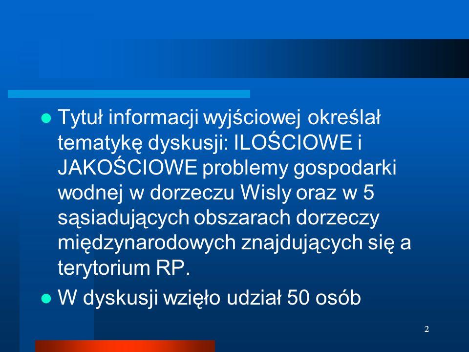 3 RZGW (Gdańsk, Warszawa, Kraków i Gliwice) zidentyfikowały istotne problemy gospodarki wodnej w podległych im regionach wodnych, Najczęściej występujące problemy: - Wisła: 22, 21, 23 i 25 - Pregoła: 11, 21, 22, 25 - Niemen: 21, 22,, 23 - Dniestr: 22, 26 - Dunaj: 21, 22, 27 Ponadto we wszystkich ww.