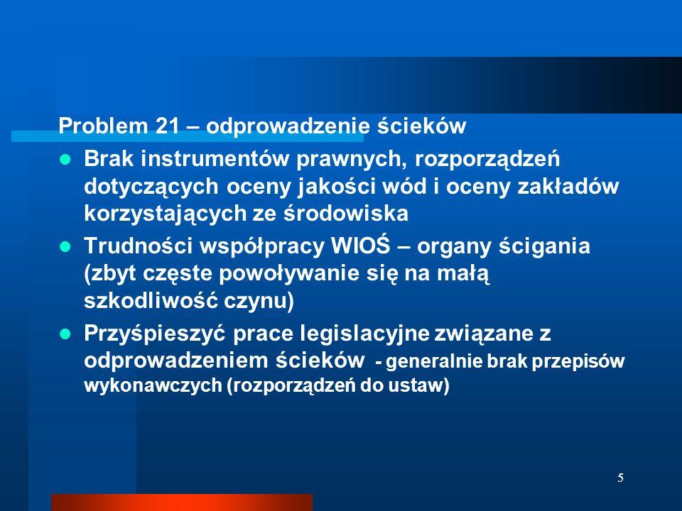5 Problem 21 – odprowadzenie ścieków Brak instrumentów prawnych, rozporządzeń dotyczących oceny jakości wód i oceny zakładów korzystających ze środowiska Trudności współpracy WIOŚ – organy ścigania (zbyt częste powoływanie się na małą szkodliwość czynu) Przyśpieszyć prace legislacyjne związane z odprowadzeniem ścieków - generalnie brak przepisów wykonawczych (rozporządzeń do ustaw)