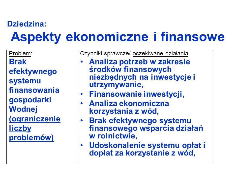Dziedzina: Aspekty ekonomiczne i finansowe Problem: Brak efektywnego systemu finansowania gospodarki Wodnej (ograniczenie liczby problemów) Czynniki sprawcze/ oczekiwane działania Analiza potrzeb w zakresie środków finansowych niezbędnych na inwestycje i utrzymywanie, Finansowanie inwestycji, Analiza ekonomiczna korzystania z wód, Brak efektywnego systemu finansowego wsparcia działań w rolnictwie, Udoskonalenie systemu opłat i dopłat za korzystanie z wód,