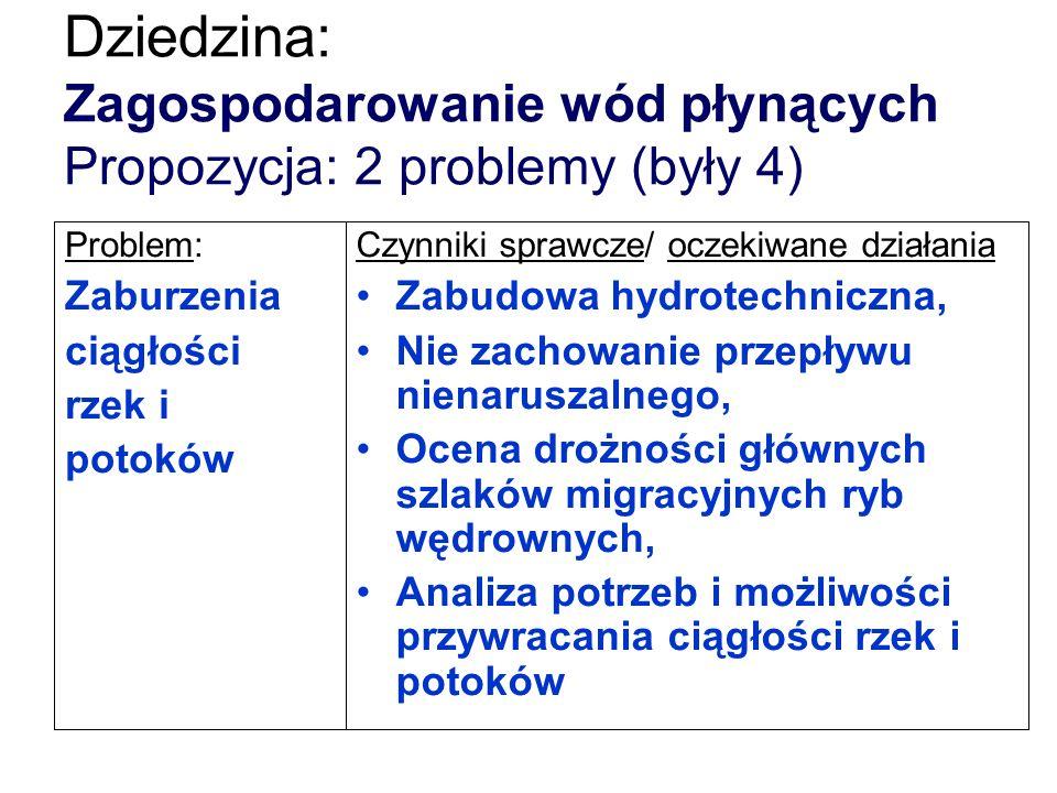Dziedzina: Zagospodarowanie wód płynących Propozycja: 2 problemy (były 4) Problem: Zaburzenia ciągłości rzek i potoków Czynniki sprawcze/ oczekiwane d