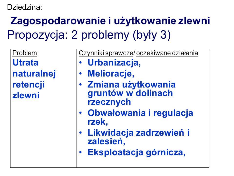 Dziedzina: Zagospodarowanie i użytkowanie zlewni Propozycja: 2 problemy (były 3) Problem: Utrata naturalnej retencji zlewni Czynniki sprawcze/ oczekiw